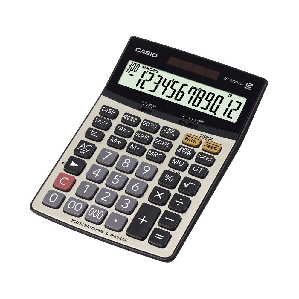 Casio DJ-220D Plus 300 Steps Check & Correct Premium Desktop Calculator with Metallic faceplate & Bigger Screen/Keys (12 Digit) product image