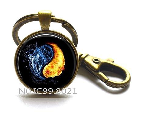 Amazon.com: Ying y Yang llavero, fuego y agua llavero ...