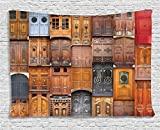 Ambesonne Rustic Decor Collection, Doors From Valencia, Spain Daylight Mediterranean Residence Entering Old City, Bedroom Living Room Dorm Wall Hanging Tapestry, 80W X 60L Inch