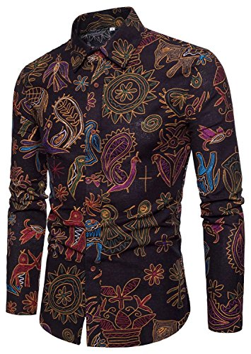 EMAOR Men's Button Down Shirt Paisley Printing Pattern Long Sleeve Floral Shirt, 6#color, US Small = Tag XL