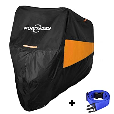 MORNYRAY Motorcycle Scooter Cover All Season Waterproof Sun Dustproof Outdoor Protection with Lock Holes Fits Up to 104 Inch Motorcycles Vehicle Cover (Black& Orange, XXL): Automotive [5Bkhe1005277]