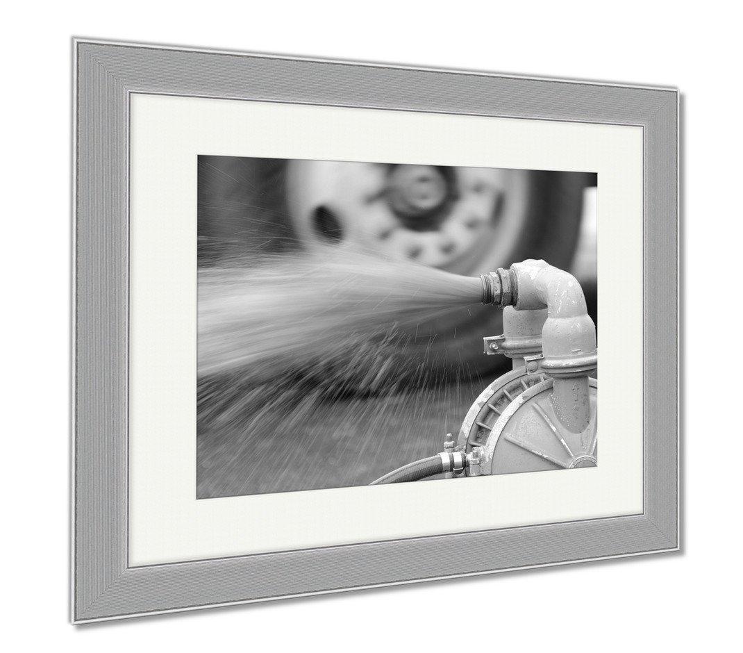 Ashley Framed Prints Water Pump, Wall Art Home Decoration, Black/White, 30x35 (frame size), Silver Frame, AG5999626