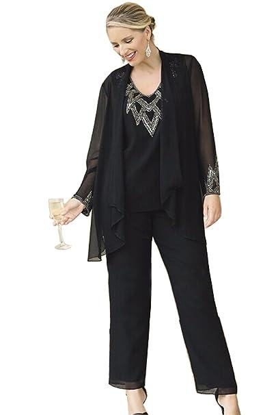 Amazon.com: kelaixiang Chifón pantalones trajes para mujer ...