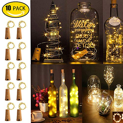 ANYOYO Wine Bottle Lights, 10 Packs Wine Bottle with Cork Fairy Lights 20 LED Battery Powered Christmas String Lights for Decoration Christmas, Bar, Indoor, Party, Bedroom, Wedding(Warm White)