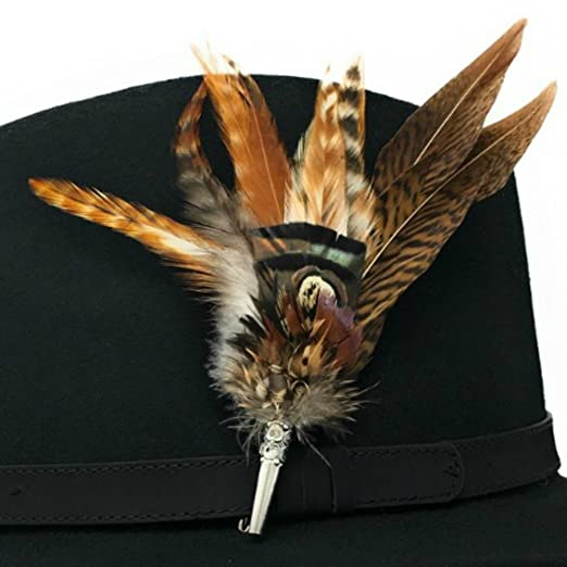 569e38f7cddc0 Women s Wool Fedora Hat with Leather Belt Trim and English Country Feather  Brooch  Amazon.co.uk  Clothing