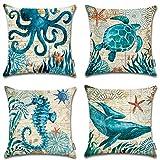 "beach cottage decor ONWAY Ocean Park Cotton Linen Theme Decorative Pillow Cover Case 18"" X 18"" Square Shape-Ocean-Beach-sea-Print-Starfish-Seahorse-Voyage, 4 Pack (Sea 1)"