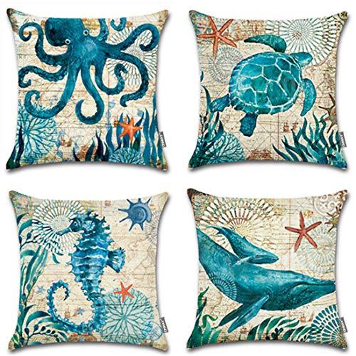 ONWAY Ocean Park Cotton Linen Theme Decorative Pillow Cover Case 18