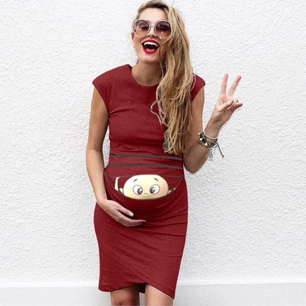 Allence Damen Schwangerschafts Kleid mit Kurzarm Freizeit Nachtkleid Lustig Baby Drucken Umstandskleid Sommer Mutterschaft Mode Umstandsmode Shirtkleid Mini Sommerkleid S-XXL
