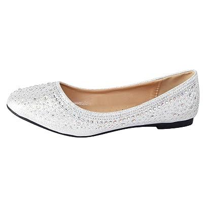Cambridge Select Women's Round Toe Rhinestone Glitter Crystal Slip-On Ballet Flat | Shoes