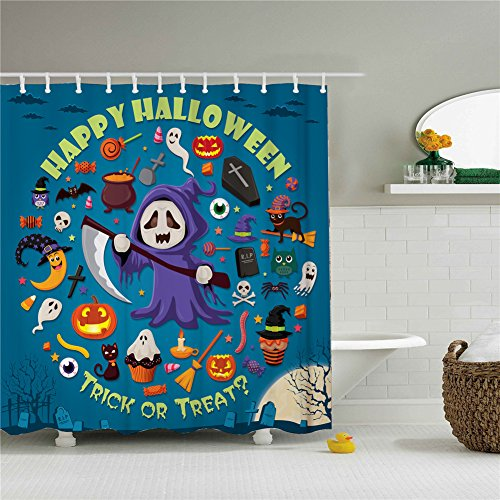 Halloween Ghost Trick Or Treat Shower Curtain,Polyester Waterproof Shower Curtain 12 Hooks Included, Bathroom Accessories, 72