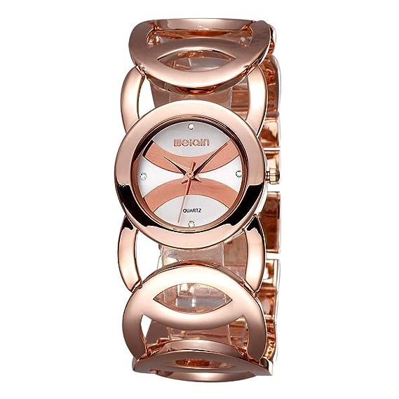 Relojes Mujer con Pulsera de círculo Calado, Escala de Diamantes de imitación Relojes de Pulsera de Lujo, Oro Rosa-Blanca: Amazon.es: Relojes