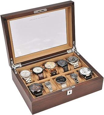 10 Slots Caja De Relojes Cuadrícula, Madera Organizador De Relojes Caja De Almacenamiento (Dial De Reloj Máximo 60mm): Amazon.es: Relojes