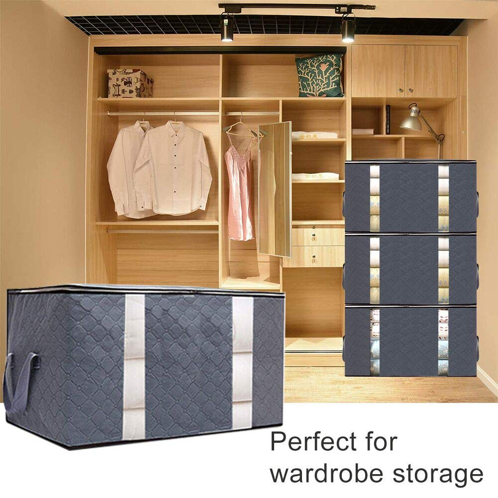 Large Capacity Clothing Storage Bag Organizer, 3 Pack Foldable Storage Bags with Double Zippers for Comforters, Large Clear Window & Portable Handles, Great for Clothes, Blankets