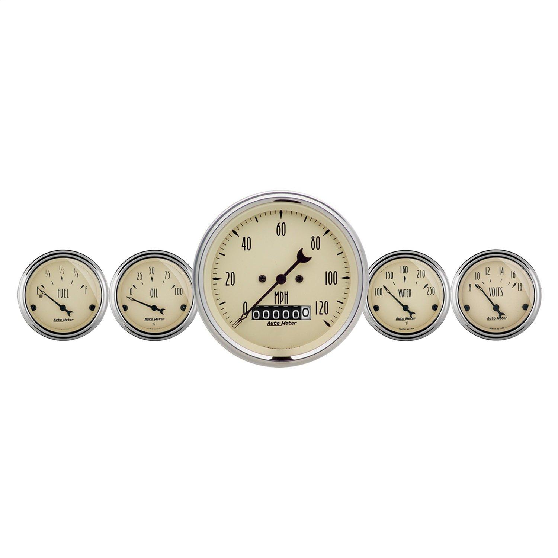 Auto Meter 1840 Antique Beige Fuel/Oil/Speedo/Volt/Water 5 Gauge Set