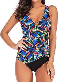 Costumi da Bagno Donna, DressLksnf Costume da Bagno Intero Stampato a Pieghe Conservative Bikini Sera Abito da Spiaggia Costume da Bagno Nuoto Swimwear