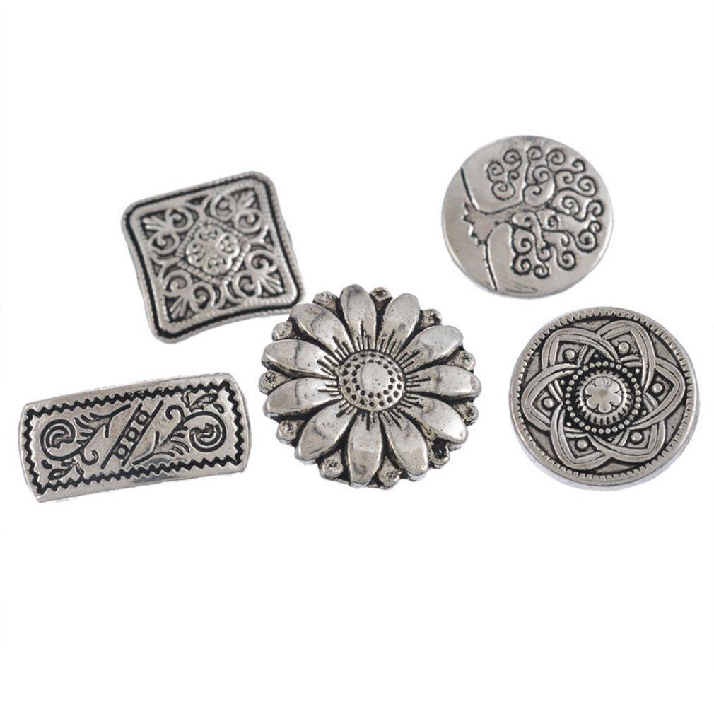 Souarts Mixte Couleur Argent Vieilli Rond Motif Sculpte Boutons en Metal Lot de 50pcs
