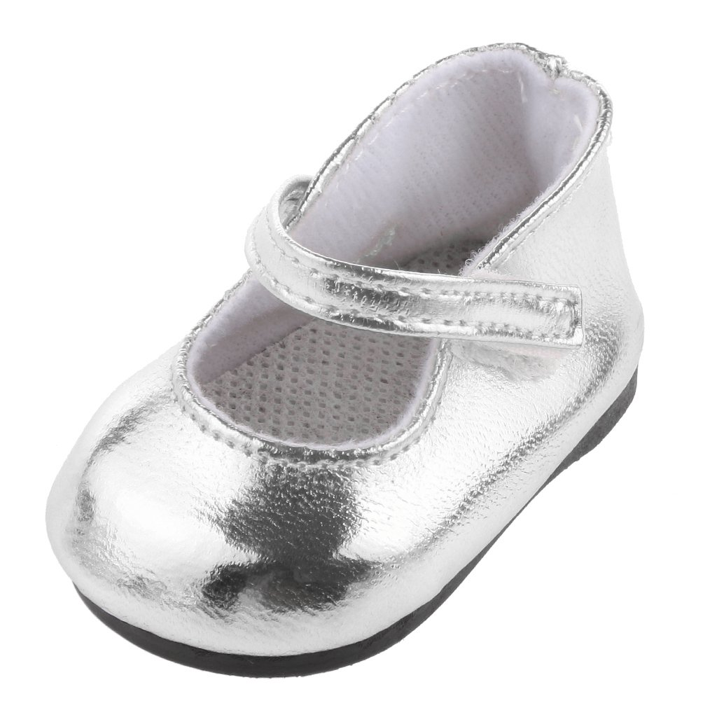 1 Par Zapatos Color Plata Decoración para Muñecas Niñas Americanas Moda genérico JPA15017854