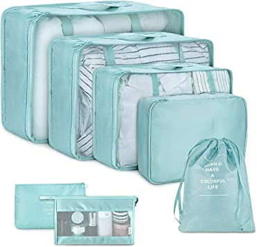 Color : Green Toiletry Bag Travel Best Packing Cubes Set Travel Luggage Organizers Suitcase Travel Accessories