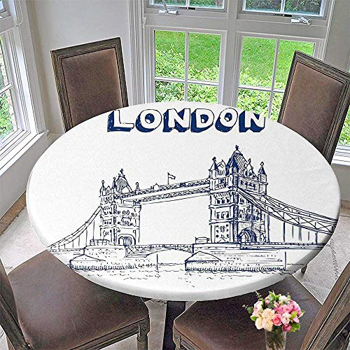 Round Polyester Tablecloth Table Cover Historical Big Ben and Bus Great Bell Clock Tower UK Europe Street Landmark for Most Home Decor 40