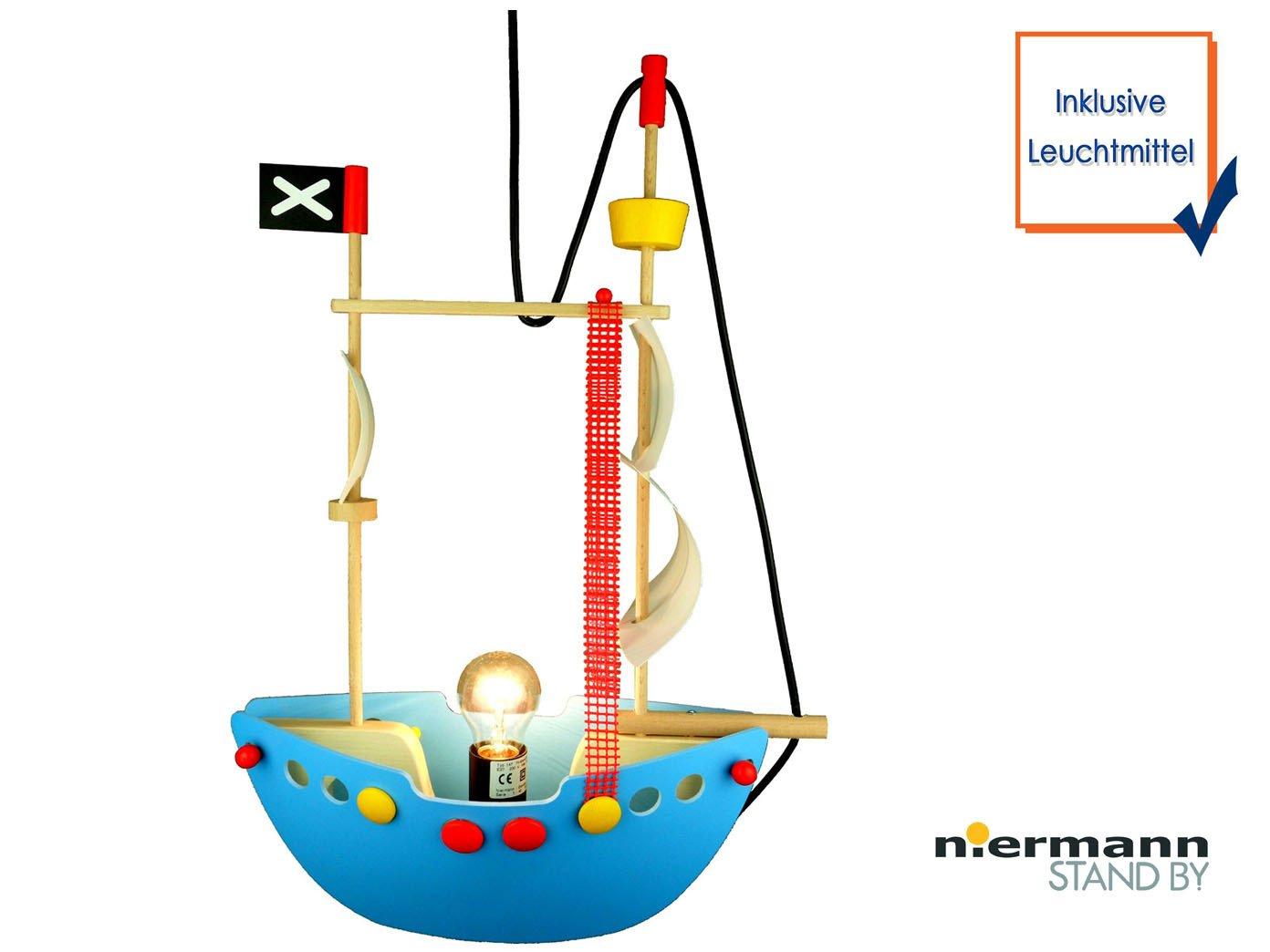 Originelle LED Hängeleuchte für kleine Abenteurer LED Kinderzimmerlampe PIRATENSCHIFF