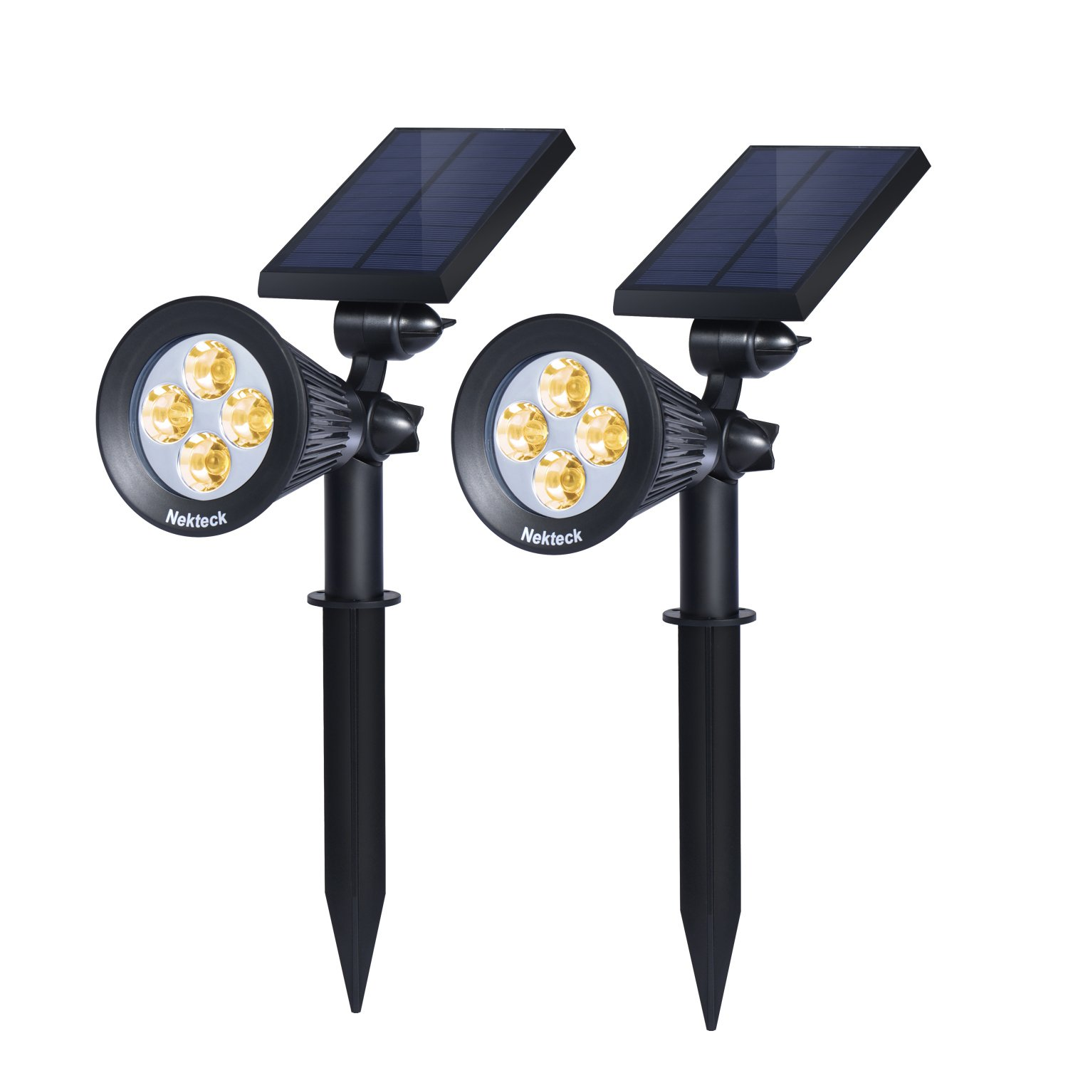 Nekteck Solar Powered Garden Spotlight - Outdoor Spot Light for Walkways, Landscaping, Security, Etc. - Ground or Wall Mount Options (2 Pack, Warm White - 2300K)