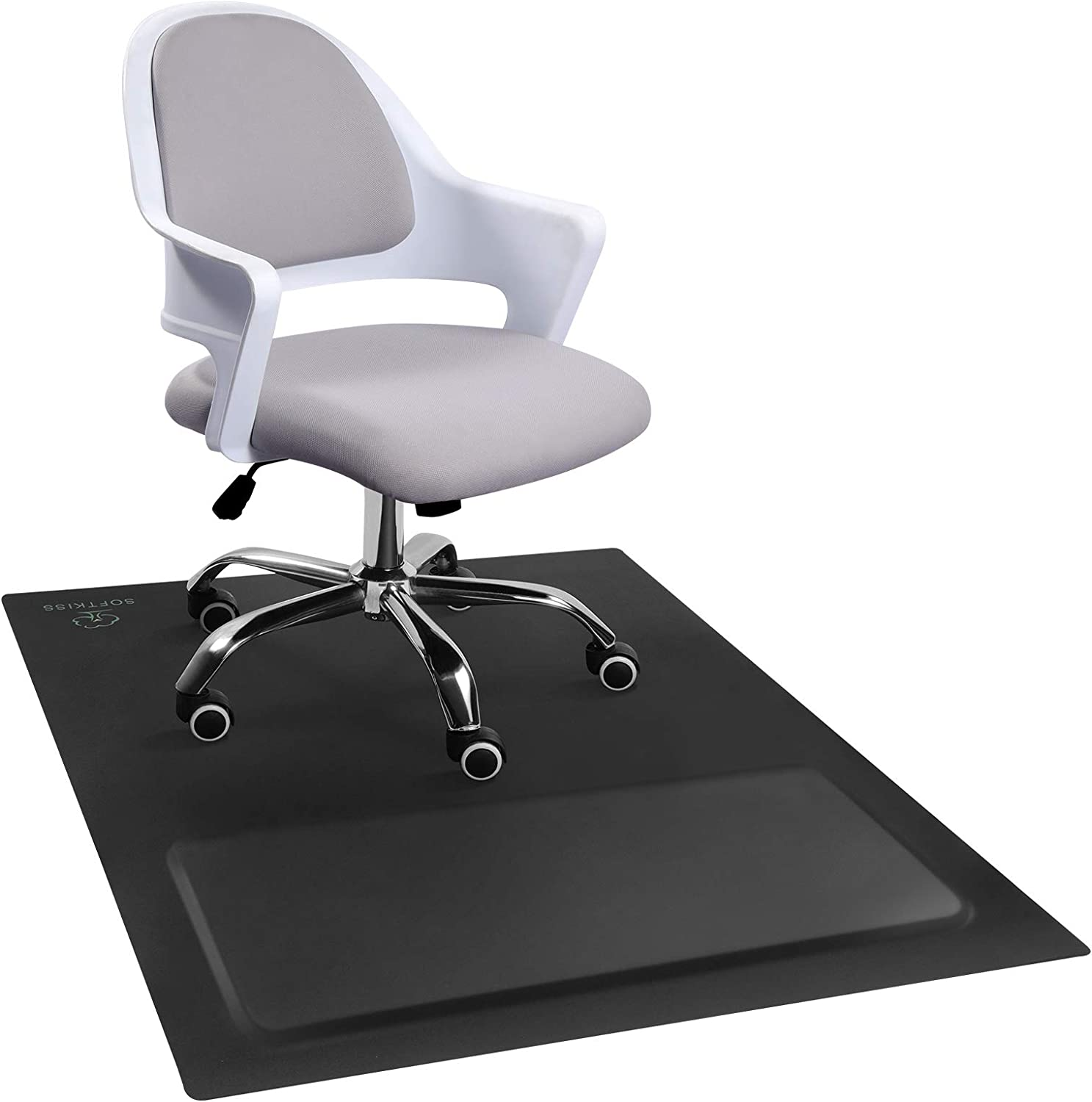 """Office Chair Anti-Fatigue Mat with Cushioned Foam Foot Support, 50"""" x 36"""" Floor Coverage, Scratch Resistant and Waterproof Anti-Slip Surface, Soft Ergonomic Cushion"""