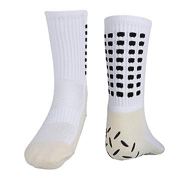 Dilwe Calcetines de Fútbol Calcetines Deportivos Antitranspirantes Transpirables Calcetines Antideslizantes de Silicona a Prueba de Golpes(Blanco): ...