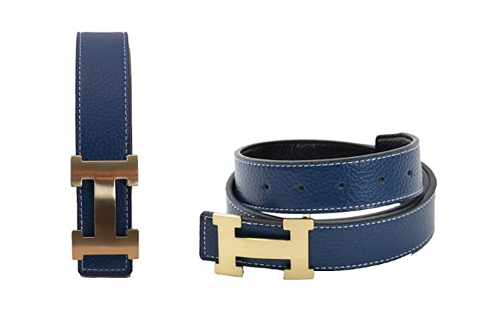 883f50434 Dinamit Men's H Reversible Leather Belt With Removable Buckle Blue with  Gold Buckle at Amazon Men's Clothing store: