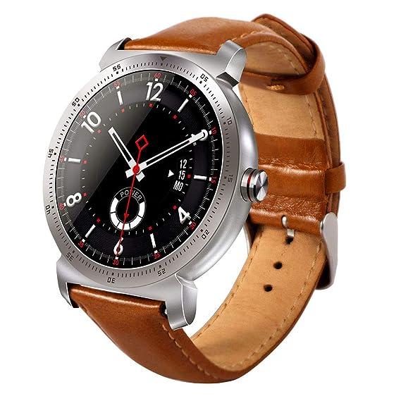 Denret3rgu K88H Plus Bluetooth - Reloj Inteligente para Deportes con Monitor de Ritmo cardíaco para Android iOS - Banda de Cuero sintético Plateado *