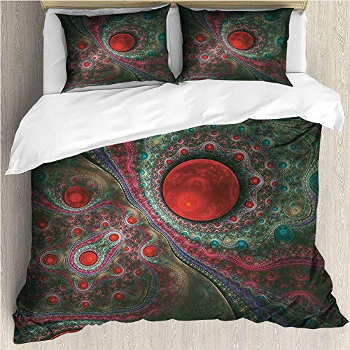 PRUNUSHOME Polyester Bedding Round Circle Object Motifs Sphere Forms Vintage Medieval Pearls Oyster Ultra Soft Hypoallergenic King