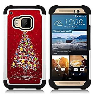 - Merry Christmas Tree Green Red Deer Snow Winer - - Fulland Deluxe Hybrid TUFF Rugged Shockproof Rubber + Hard Case Cover FOR HTC One M9 Queen Pattern