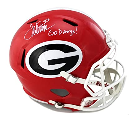 4e968413b Image Unavailable. Image not available for. Color  Terrell Davis Signed  Georgia Bulldogs Schutt Full Size NCAA Helmet with quot Go ...
