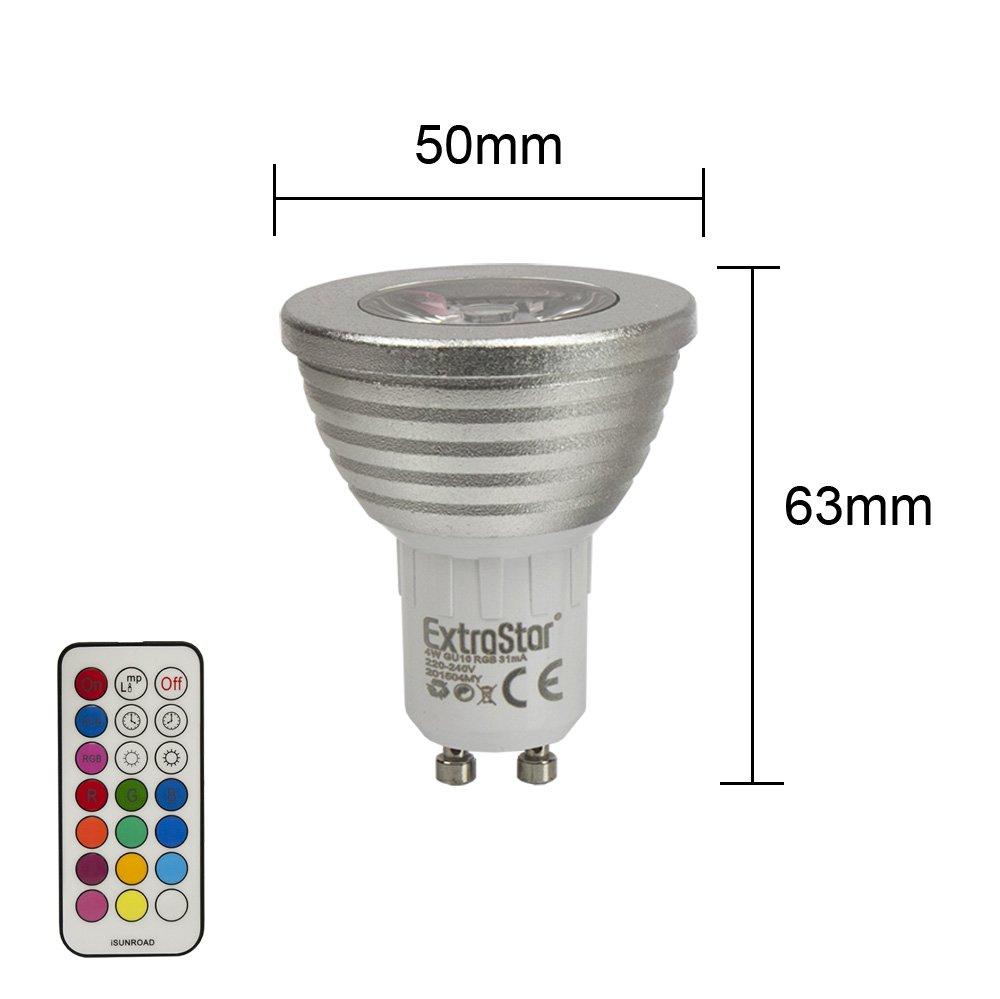 1 x LED RGB lámpara extra Star GU10 16 colores 4 W Cambio de color luz Foco (gu10rgb): Amazon.es: Iluminación