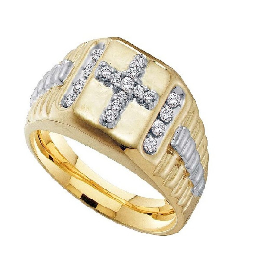 Smjewels 14K Yellow Gold Fn 1/4 Ct D/VVS1 Diamond Cross Wedding Band Ring For Men's