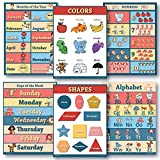 6 Educational poster pack Charts for classrooms early education for learning Alphabet Abc, days of the week poster, shapes poster, counting months of the year poster, learning colors edu (18x24)