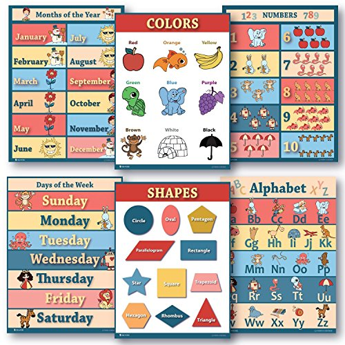6 Educational LAMINATED poster teaching charts for classrooms early education for learning Alphabet Abc, days of the week, shapes, counting chart, months of the year chart, colors edu - Poster Small Day