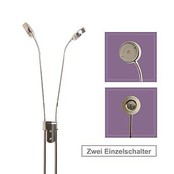 LED Modern Stehlampe Dimmbar Stehleuchte Wohnzimmerlampe Deckenfluter 135cm Chrom Leselampe Fluter IP20 5W