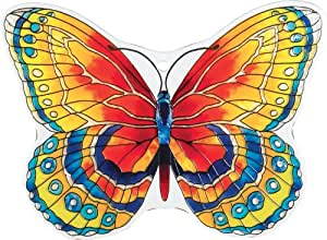 Joan Baker Designs TPF1009 Glass Tile Plaques, Orange/Blue Butterfly, 8 by 6-Inch