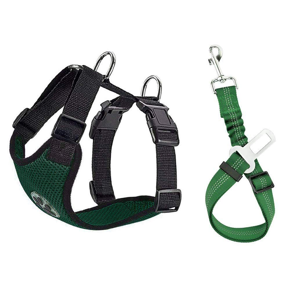 SlowTon Dog Car Harness Seatbelt Set, Dog Vest Harness Multifunction Adjustable Neck and Chest Double Breathable Fabric with Car Vehicle Safety Seat Belt for Dog Cat Travel Ride (M, Green)