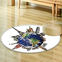 Print Area rug travel the world monument concept extremely detailed image including elements  Perfect for any Room, Floor Carpet -Round 47