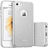 ESR iPhone 5S Case, iPhone SE Case, iPhone 5 Case,Glitter Sparkle Bling Case [Three Layer] for Girls Women [Shock-Absorption] for iPhone 5S/SE/5 (Silver)