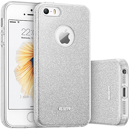 (ESR iPhone 5S Case, iPhone SE Case, iPhone 5 Case,Glitter Sparkle Bling Case [Three Layer] for Girls Women [Shock-Absorption] for iPhone 5S/SE/5 (Silver))