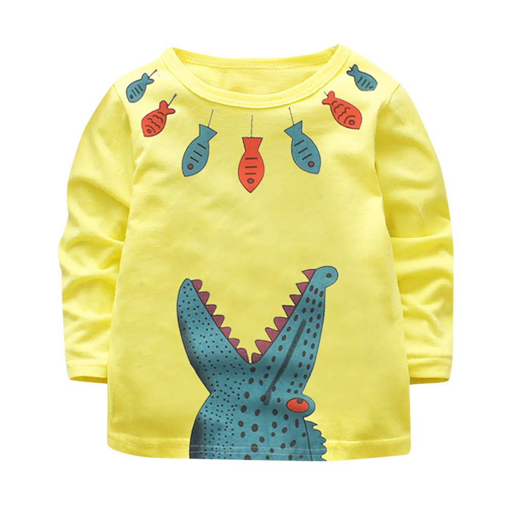 Franterd Shirt for Little Boys Girls Cartoon Crocodile Print Soft Warm Pullover Tops Outwear for Kids 1 2 3 4 5 6T