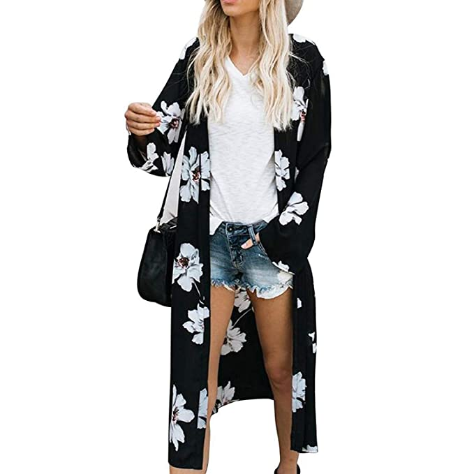 822ba3afa2890 Summer Blouse Women Kimono Womens Tops and Blouses Long Sleeve Floral Print  Chiffon Top Cardigan Black