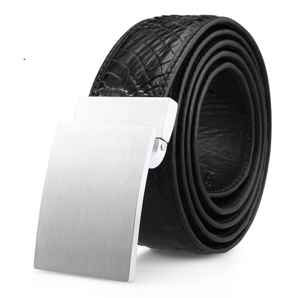 Men's Belt/Smooth Buckle Casual High-end Business Belt/Leather Belts-black One Size by ESDRFG