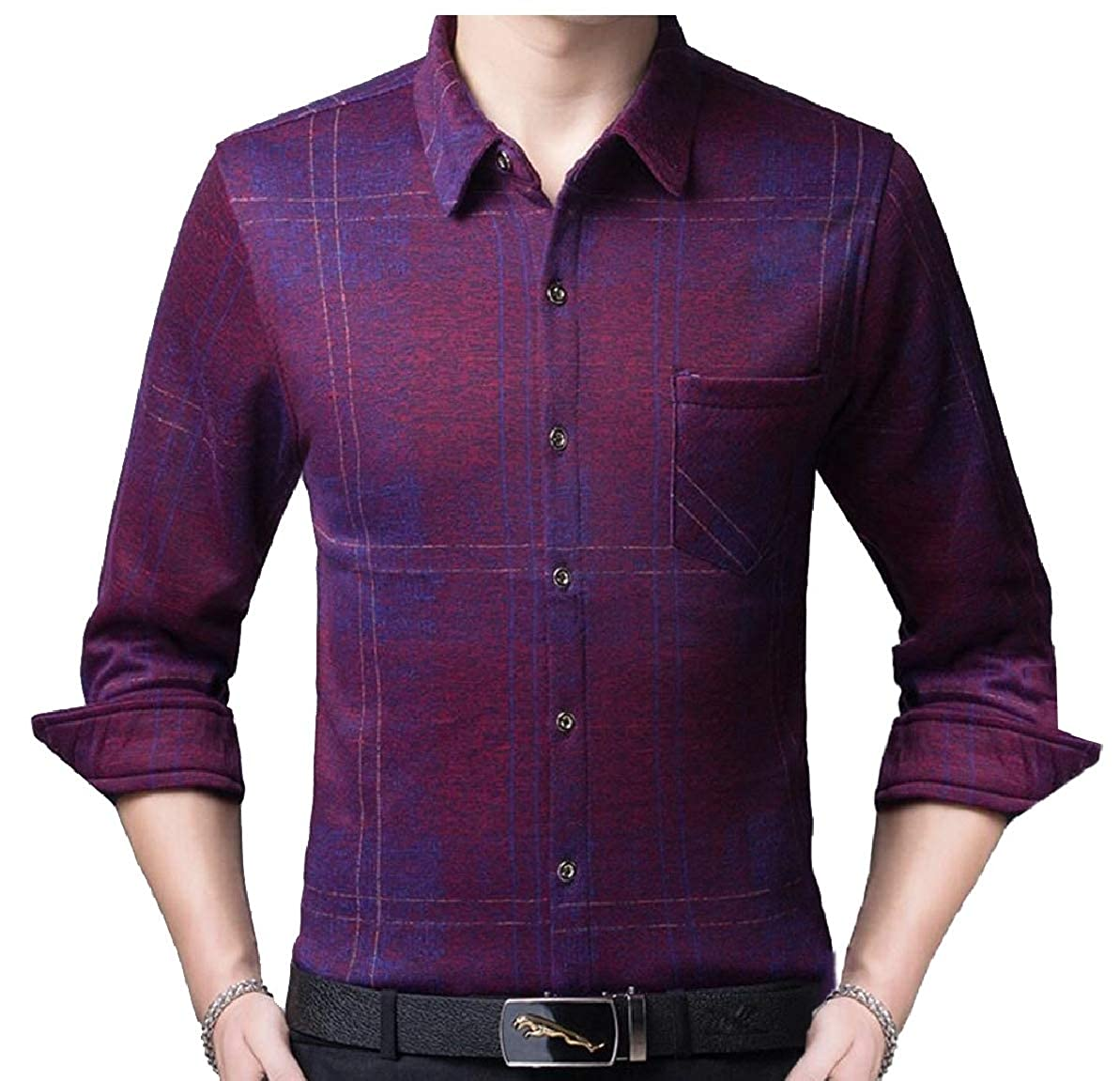 FLCH+YIGE Mens Slim Fit Thicken Button Down Fashion Fleece Lined Dress Shirts