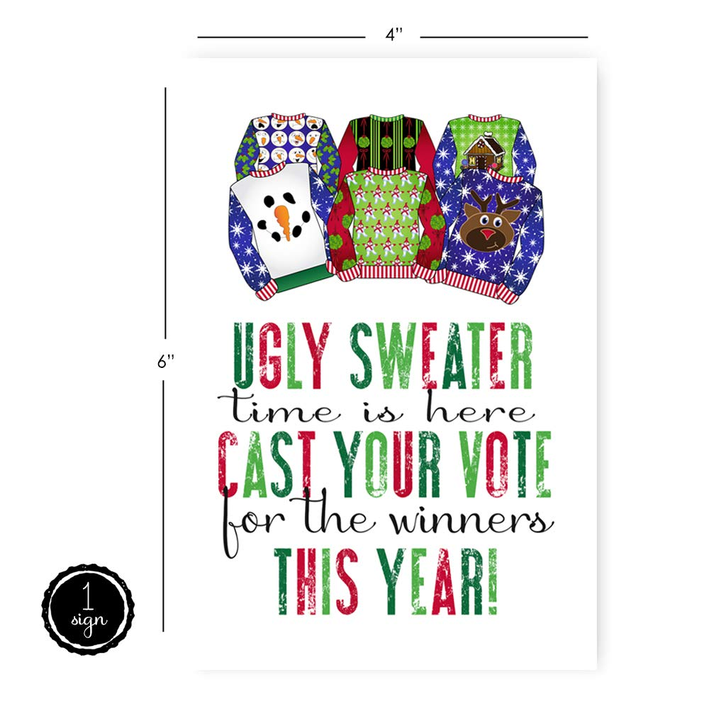 Ugly Sweater Christmas Party Supplies Game Cards 25 Voting Cards + 1 Sign Per Set Paper Clever Party