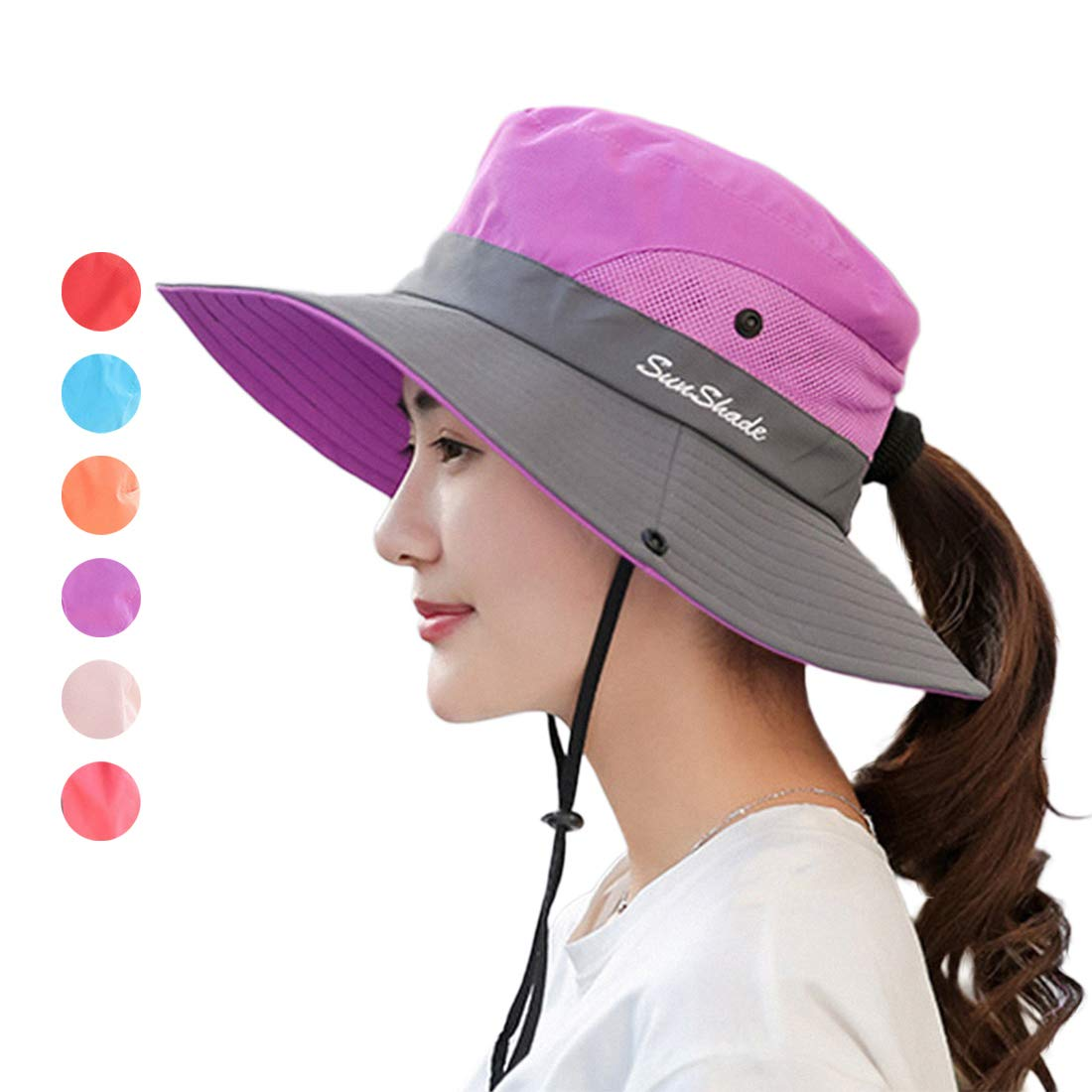 KXF Womens Outdoor Summer Sun Hat Wide Brim UV Protection Mesh Ponytail Fishing Hat Foldable Bucket Boonie Hat Safari with Adjustable Chin Strap