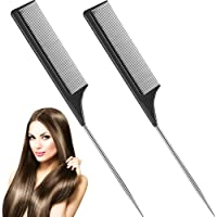 2 Pack Tail Comb, Carbon Fiber Stainless Steel Pintail and Heat Resistant Teasing Comb, Black