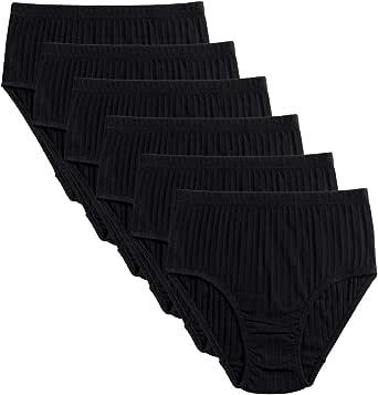 Knitlord Women's Plus Size Underwear Cotton 6 Pack Comfort Briefs Panties